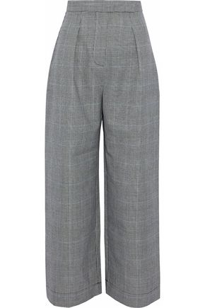 SOLACE LONDON Delphine cropped Prince of Wales checked wool wide-leg pants