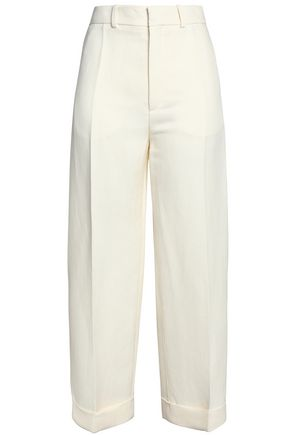 CHLOÉ Linen and silk-blend straight-leg pants