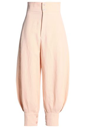 CHLOÉ Cotton and linen-blend tapered pants