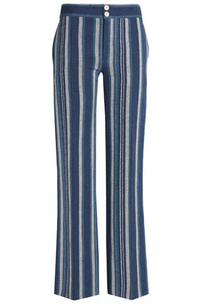CHLOÉ Striped cotton-blend flared pants