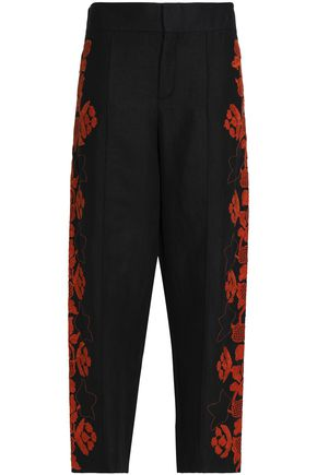 CHLOÉ Embroidered linen tapered pants