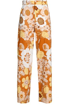 CHLOÉ Floral-print cotton straight-leg pants