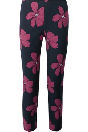 LELA ROSE Catherine cropped cotton-blend floral-jacquard slim-leg pants