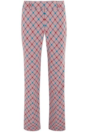MARNI Checked brushed-twill bootcut pants