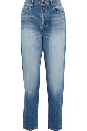 SAINT LAURENT Faded high-rise straight-leg jeans
