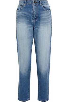 SAINT LAURENT Faded high-rise straight-leg jeans