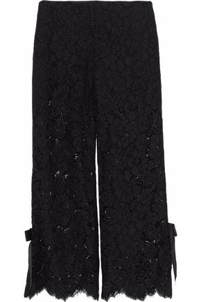 GANNI Cropped bow-embellished corded lace wide-leg pants