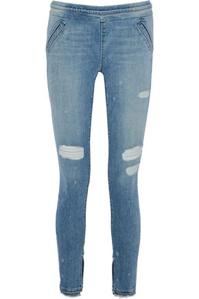 RTA Sonia distressed mid-rise skinny jeans