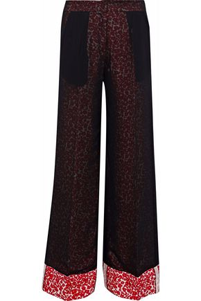 DEREK LAM Layered floral-print silk wide-leg pants