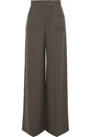 REDValentino Eyelet-embellished houndstooth wool wide-leg pants