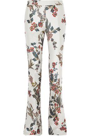 GIAMBATTISTA VALLI Floral satin-jacquard bootcut pants