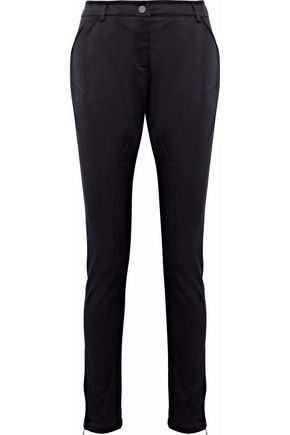 REDValentino Grosgrain-trimmed cotton-blend twill skinny pants