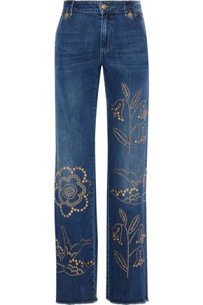 REDValentino Studded mid-rise wide-leg jeans