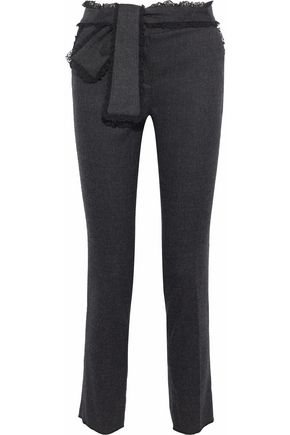 REDValentino Tie-front lace-trimmed stretch-wool felt slim-leg pants