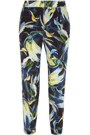 ERDEM Giulia cropped printed silk crepe de chine slim-leg pants