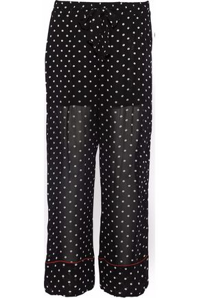 GANNI Monette polka-dot georgette wide-leg pants