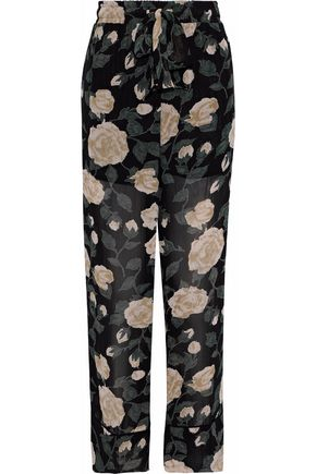 GANNI Carlton floral-print georgette wide-leg pants