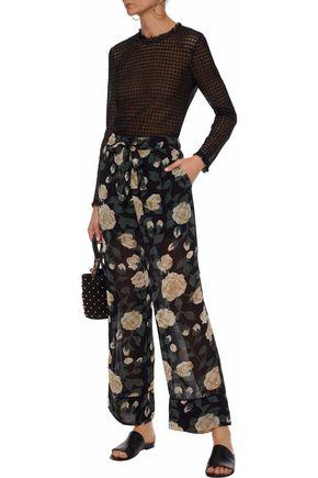 GANNI Carlton polka-dot georgette wide-leg pants