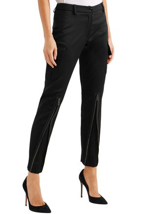 MOSCHINO Wool-blend twill skinny pants