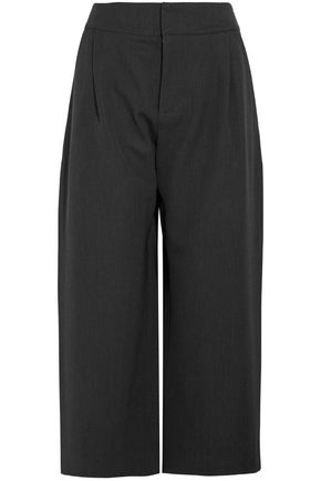 MARNI Cropped pleated wool-blend twill wide-leg pants