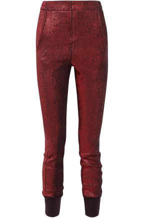 ANN DEMEULEMEESTER Linen-blend textured-lamé tapered pants