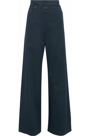 REDValentino Button-detailed stretch-cotton twill wide-leg pants