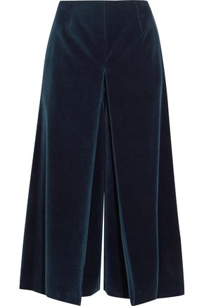 SONIA RYKIEL Pleated cotton-velvet culottes