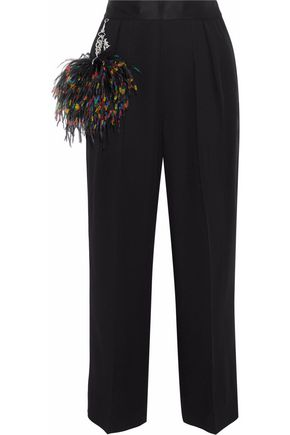 CHRISTOPHER KANE Cropped embellished satin-paneled crepe wide-leg pants