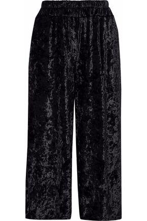 REBECCA MINKOFF Crushed-velvet wide-leg pants
