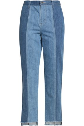 NICHOLAS Two-tone high-rise slim-leg jeans