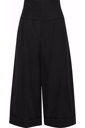 REDValentino Lace-up cropped cotton-blend culottes