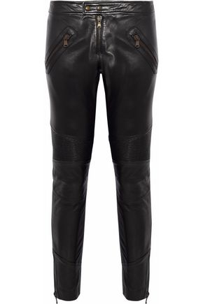 REDValentino Cropped jersey-paneled leather skinny pants