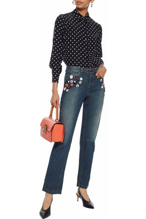 REDValentino Button-embellished mid-rise straight-leg jeans