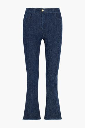 ETRO Cropped paisley-detailed high-rise bootcut jeans