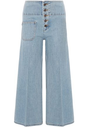 MARC JACOBS Button-detailed denim culottes