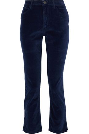 3x1 Higher Ground cropped velvet slim-leg pants