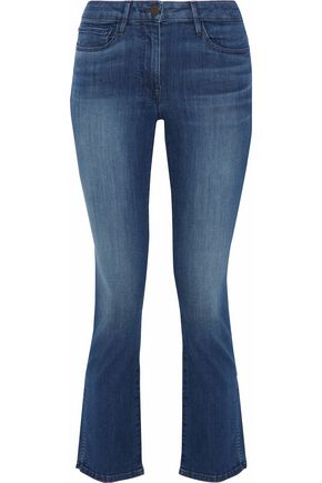 3x1 W2 Split mid-rise cropped coated flared jeans