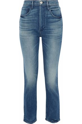 3x1 Cropped distressed high-rise slim-leg jeans