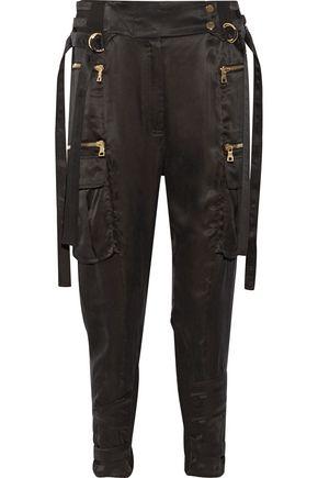 BALMAIN Stretch-jersey paneled satin-twill tapered pants