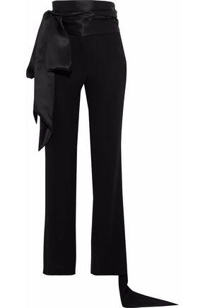 J.W.ANDERSON Tie-front satin-paneled crepe straight-leg pants