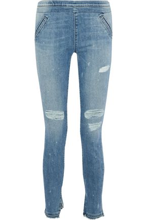 RTA Sonia distressed mid-rise skinny jeans