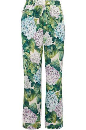 DOLCE & GABBANA Floral-print silk straight-leg pants