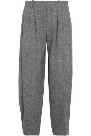 CHLOÉ Pleated herringbone wool-blend wide-leg pants