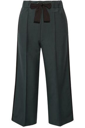 FENDI Cropped bow-detailed mohair and wool-blend wide-leg pants