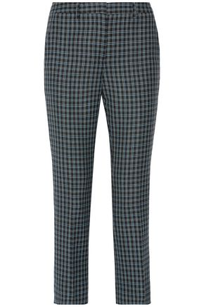 MIU MIU Cropped checked wool tapered pants