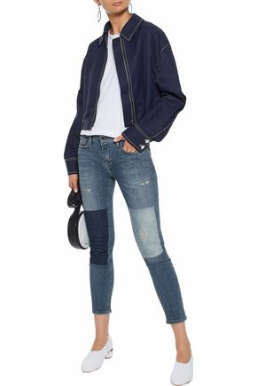 VICTORIA, VICTORIA BECKHAM Cropped distressed patchwork  low-rise skinny jeans