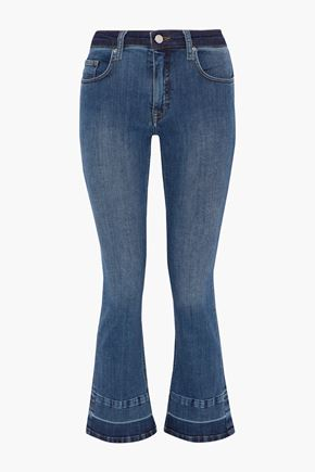 VICTORIA, VICTORIA BECKHAM Faded mid-rise kick-flare jeans