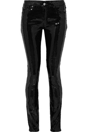 VICTORIA, VICTORIA BECKHAM Sequined mid-rise skinny jeans