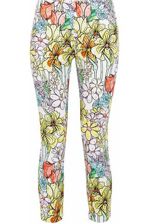 MOSCHINO Cropped printed cotton-blend cloqué skinny pants