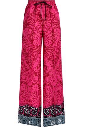 MARY KATRANTZOU Printed silk-twill wide-leg pants